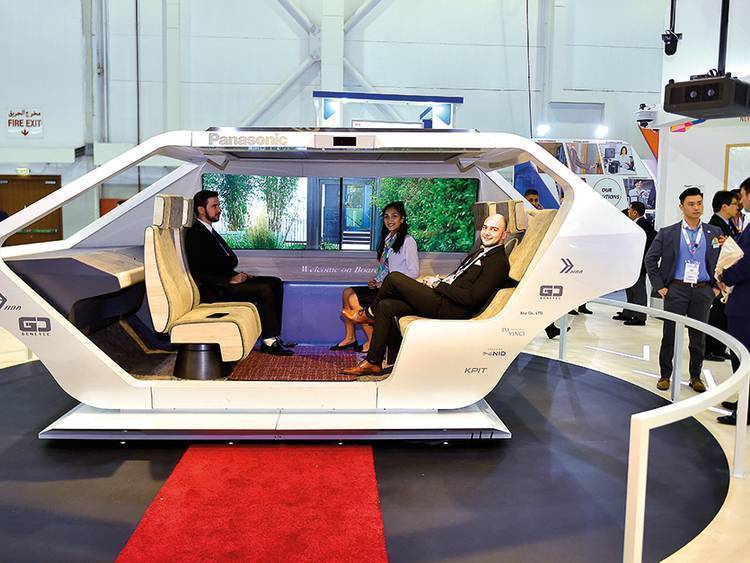 Futuristic Autonomous Living Space Cabin is displayed at the Gitex Technology Week.